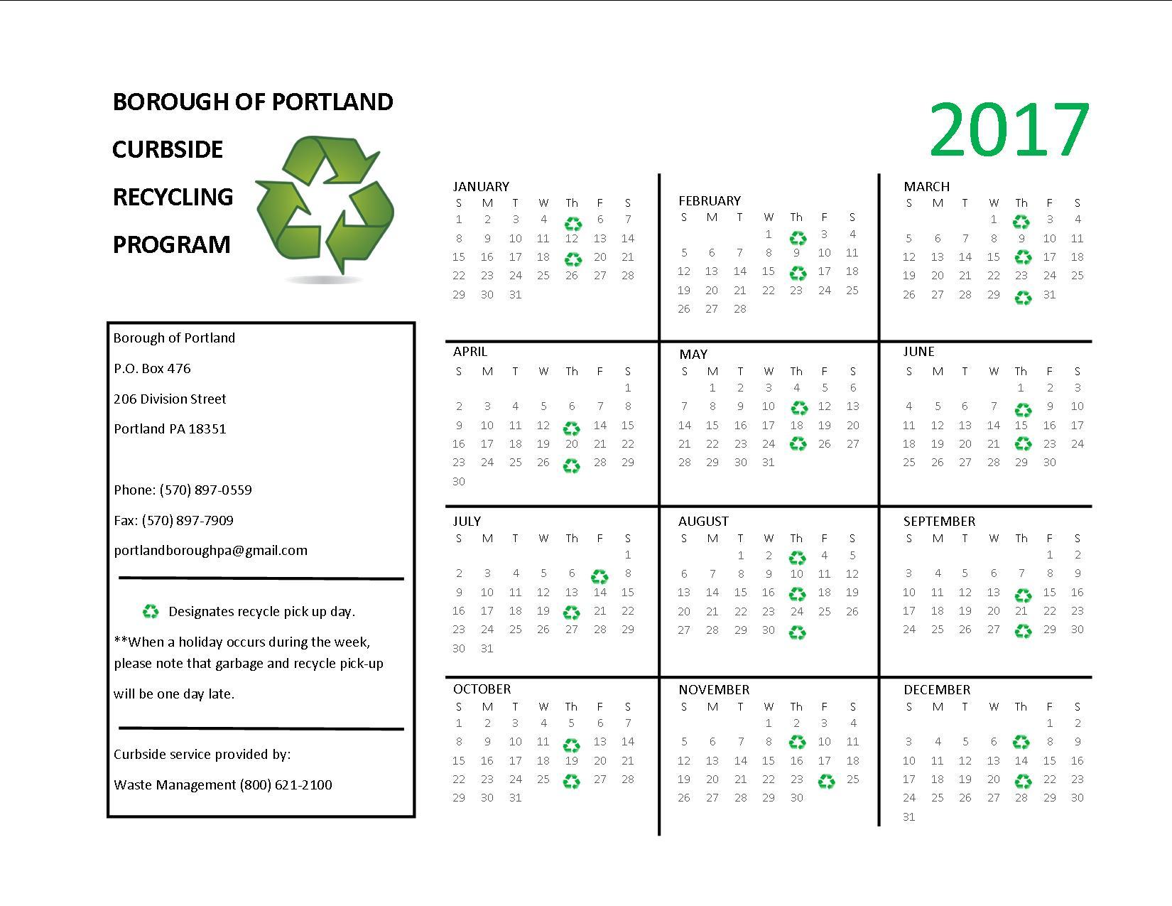 recycle calendar 2017