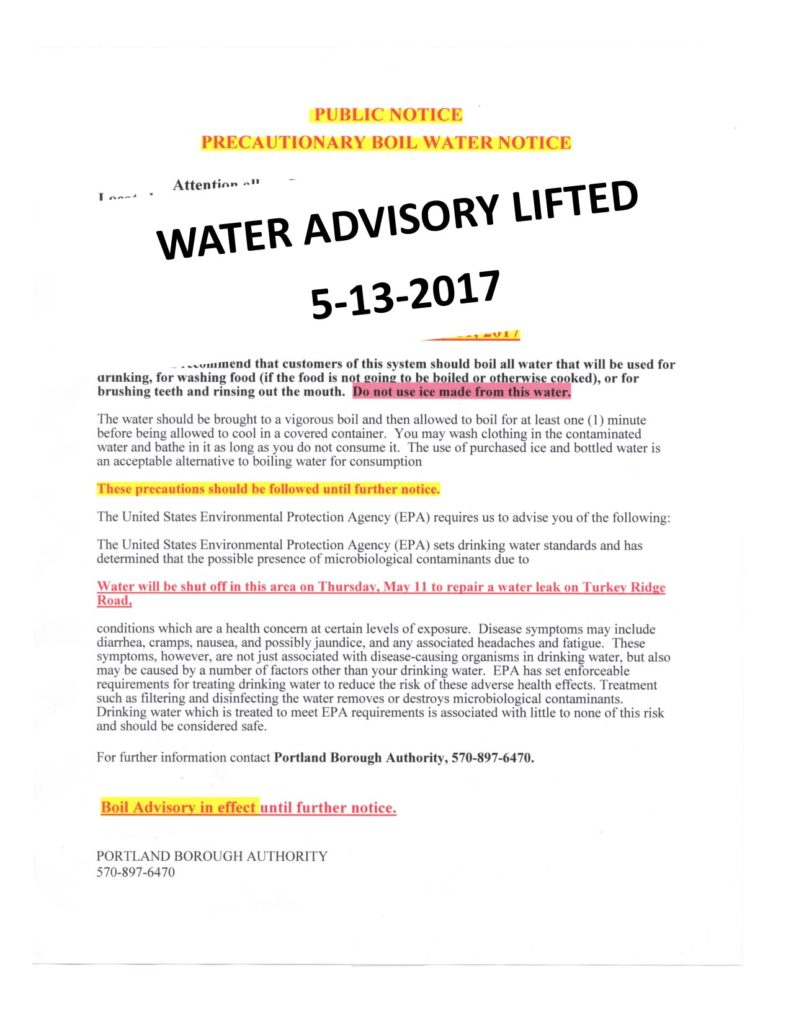 water advisory may 2017
