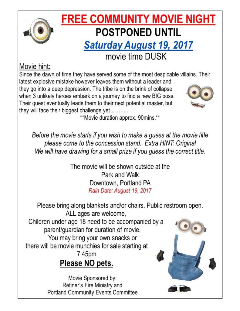 Movie August 19 2017-- POSTPONED DATE
